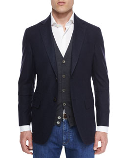 Gingham Two-Button Silk Sport Coat, Navy