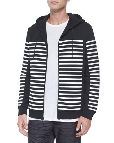 Geo-Print Zip-Up Hooded Jacket, Black