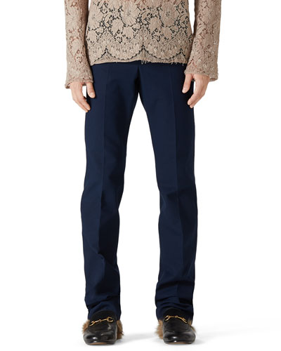 Stretch Gabardine Slim-Fit Pants, Blue