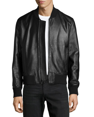Sterne Leather Bomber Jacket, Black