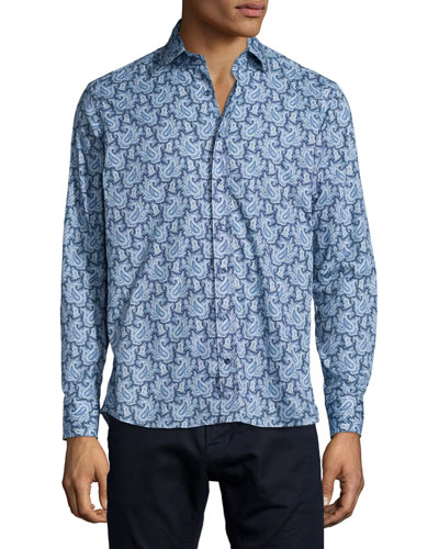 Paisley-Print Long-Sleeve Woven Shirt, Blue