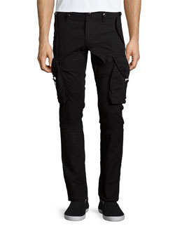 Slim-Fit Twill Cargo Pants, Black