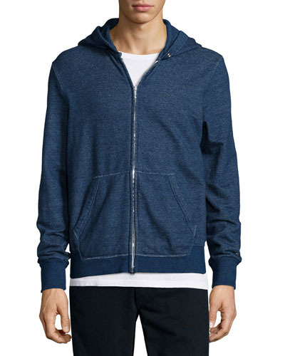 Basic Zip-Up Hoodie, Indigo