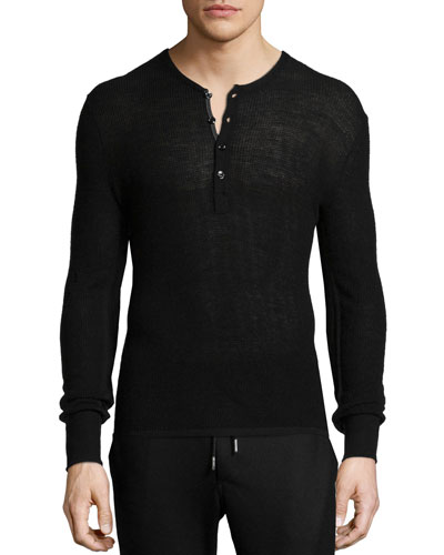 Garrett Thermal Long-Sleeve Henley Shirt, Black