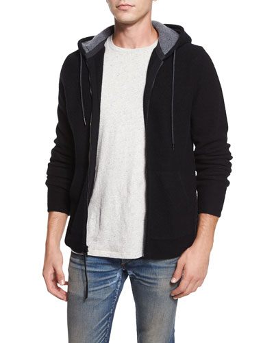 Dax Full-Zip Wool Hoodie, Black