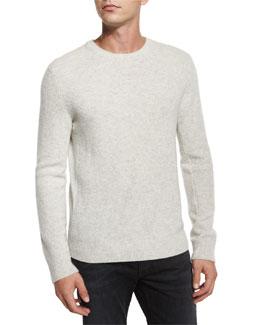 Textured Cashmere Crewneck Sweater, Gray