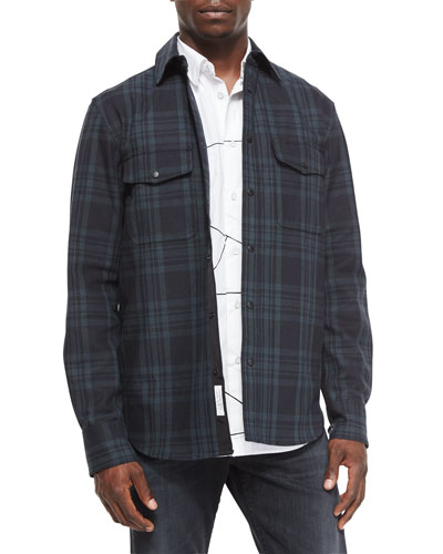 Plaid Jacket with Elbow Patches, Black