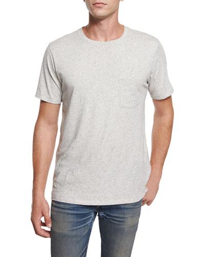 Tweed-Print Short-Sleeve Tee, White