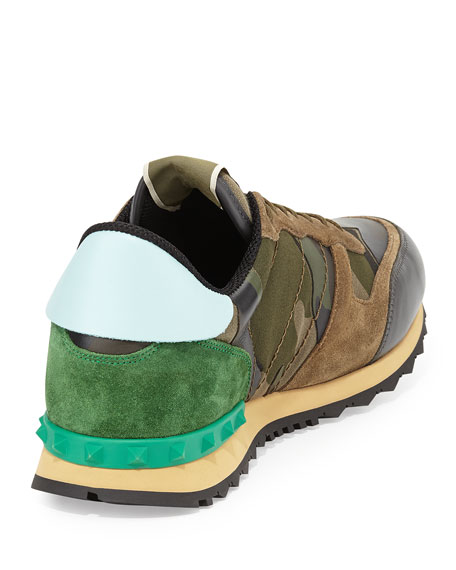Rockstud Camo-Print Sneaker, Green