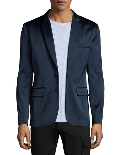 Satin Two-Button Blazer, Navy