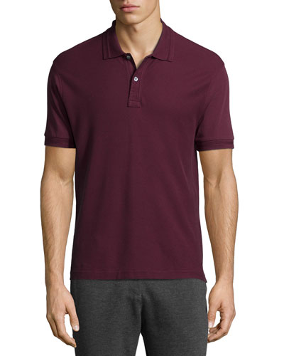 Short-Sleeve Pique Polo Shirt, Burgundy