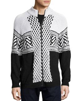 Fair Isle Knit Zip-Up Jacket, Black