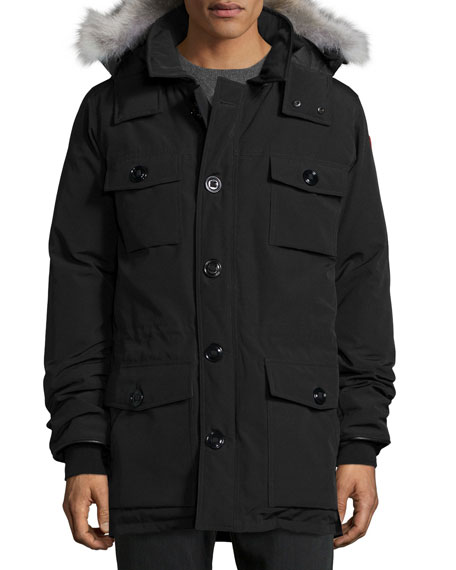 Banff Fur-Trimmed Parka, Black