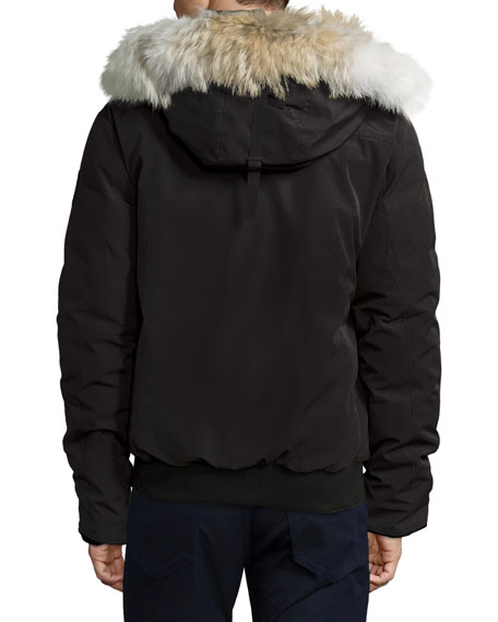 Borden Bomber Jacket with Fur-Lined Hood, Black
