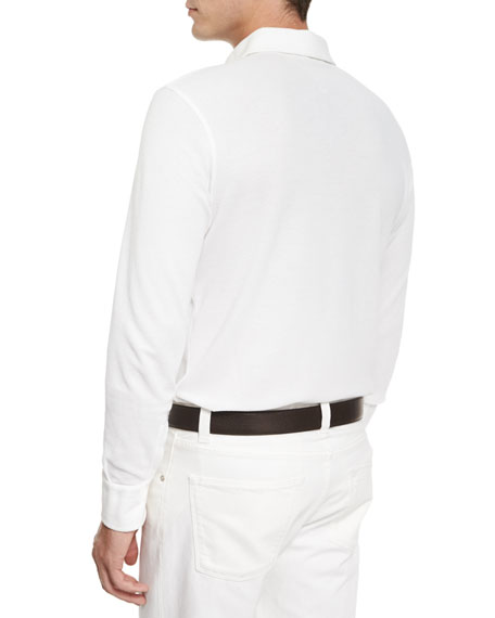 Andre Long-Sleeve Polo Shirt, White