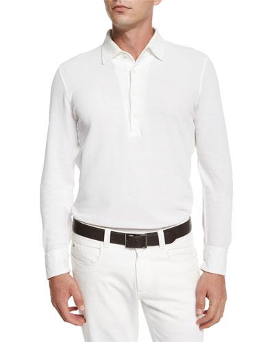 Andre Long-Sleeve Polo Shirt, White