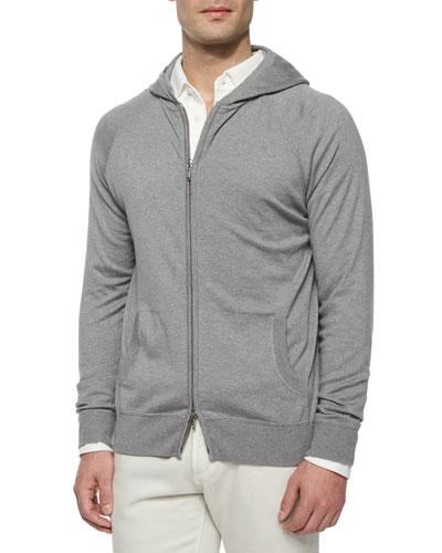 Hooded Full-Zip Bomber Sweater, Blue