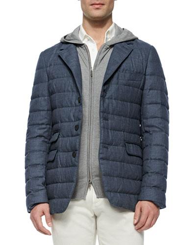 Quilted Cashmere Blazer, Dark Blue