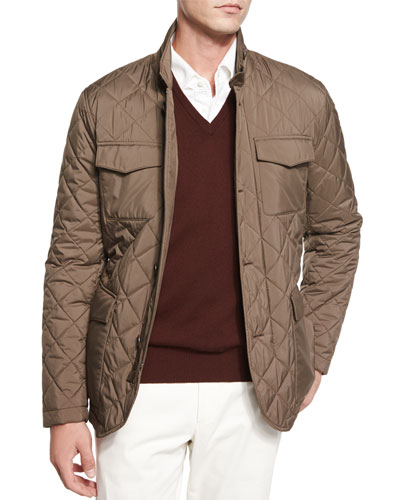 Journey Diamond-Quilted Storm Jacket, Green