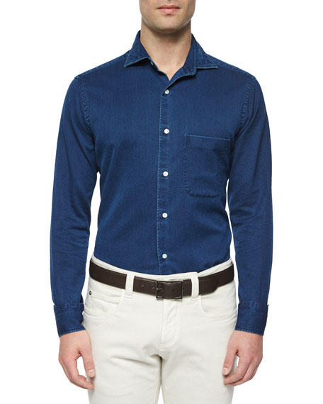 Alain Denim Long-Sleeve Sport Shirt, Indigo