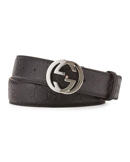 Interlocking G-Buckle Leather Belt, Black