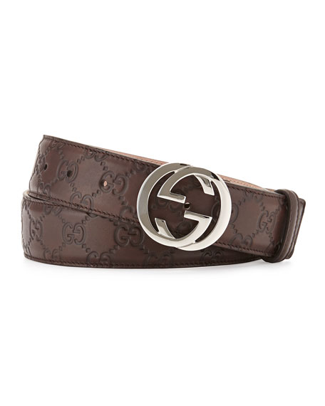 Interlocking G-Buckle Leather Belt, Chocolate