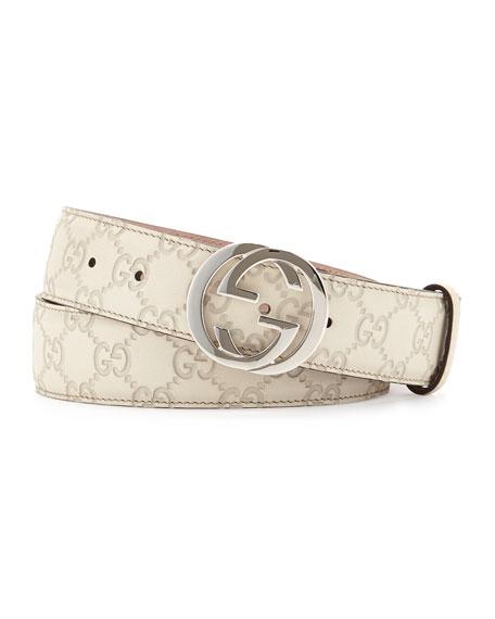 Interlocking G-Buckle Leather Belt, Medium White