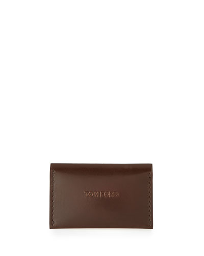 Leather Vertical Card Case, Chocolate