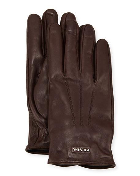Napa Leather Gloves w/ Logo, Brown