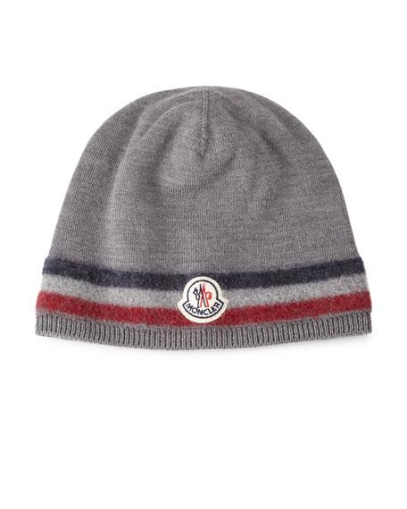 Logo-Striped Cashmere Beanie Hat, Gray