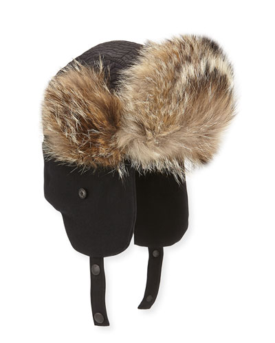 Fur-Trim Trapper Hat, Black