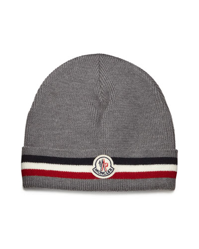 Striped Logo Cashmere Beanie Hat, Gray