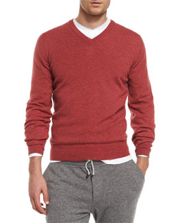Cashmere V-Neck Pullover Sweater, Red