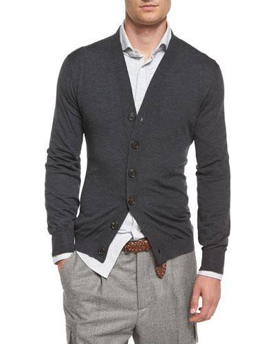 Wool-Blend Knit Cardigan, Dark Gray