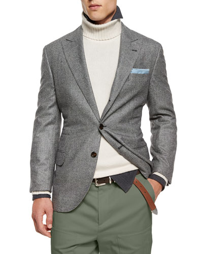 Plaid Two-Button Wool Sport Coat, Gray