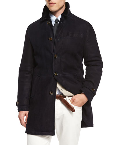 Button-Down Shearling Fur Coat, Navy