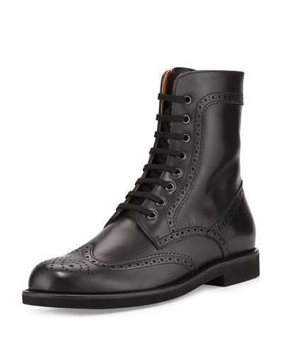 Leather Lace-Up Wing-Tip Boot, Black