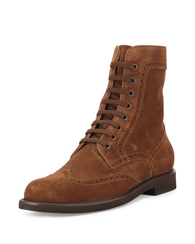 Suede Lace-Up Wing-Tip Boot, Beige