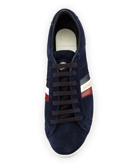 Monaco Striped Suede Low-Top Sneaker, Navy