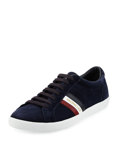Monaco Striped Suede Low-Top Sneaker, Navy