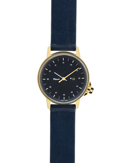 Miansai M12 Watch with Leather Strap, Navy/Gold
