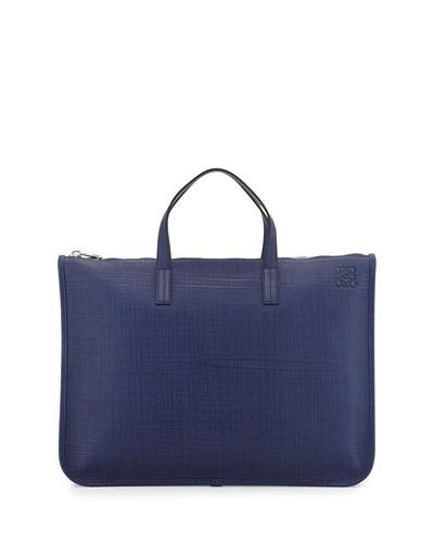 Slim Textured Leather Briefcase, Navy