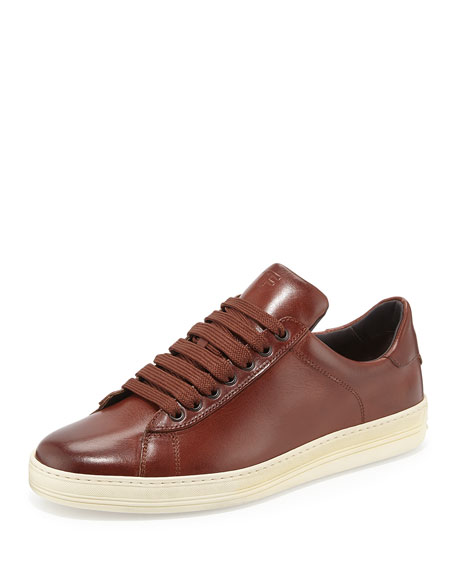 Men's Russel Leather Low-Top Sneakers, Brown