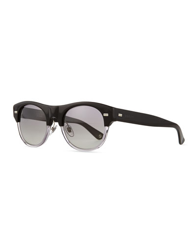 Plastic Frame Sport Sunglasses, Black/Crystal
