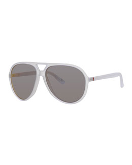 Polarized Crystal-Frame Aviator Sunglasses