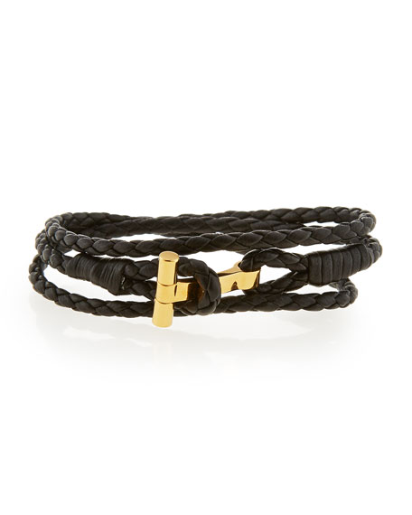 TOM FORD Men's Leather T Wrap Bracelet, Small
