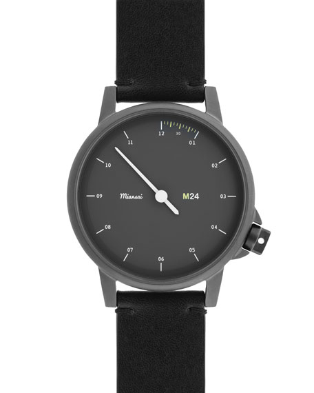 M24 Stainless Steel Watch with Leather Strap, Black