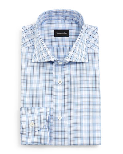 Textured Box Check Dress Shirt, Blue