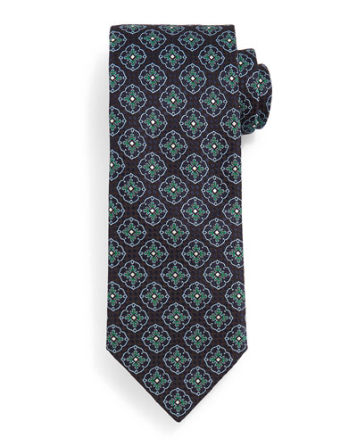 Fancy Medallion Tie, Navy