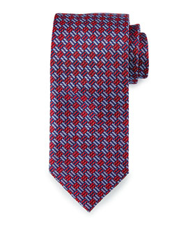Textured Basketweave Silk Tie, Navy